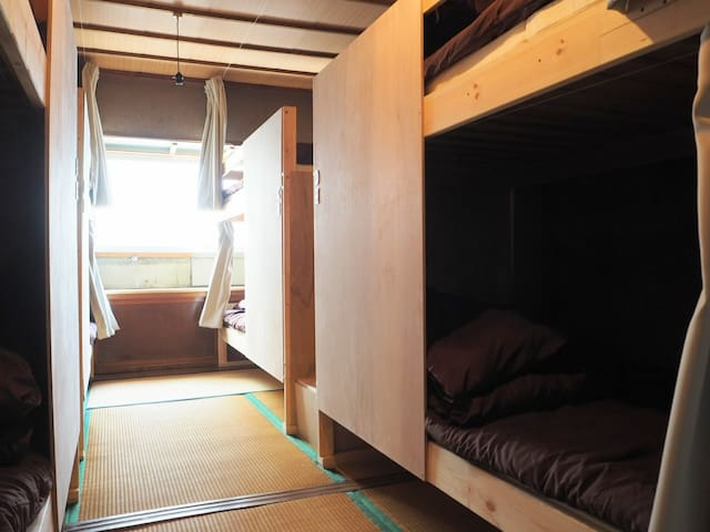 Mixed dormitory bunkbed, shared bathroom