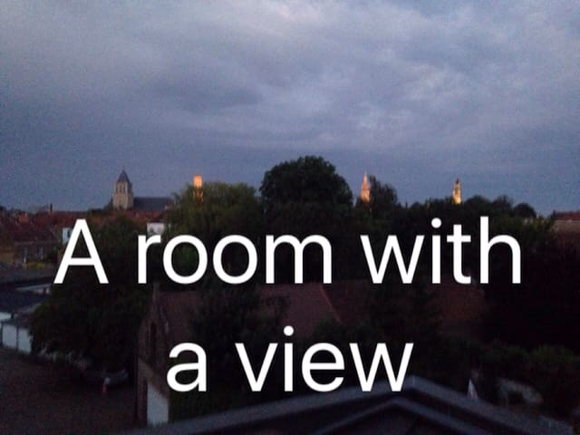 A room with a balcony, private bathroom & a view..