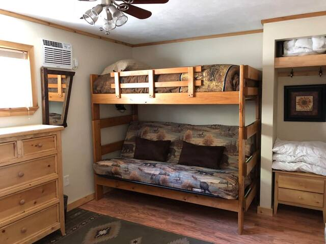 Bunk Cabin is great for kids and adults! Twin upper/full size futon.