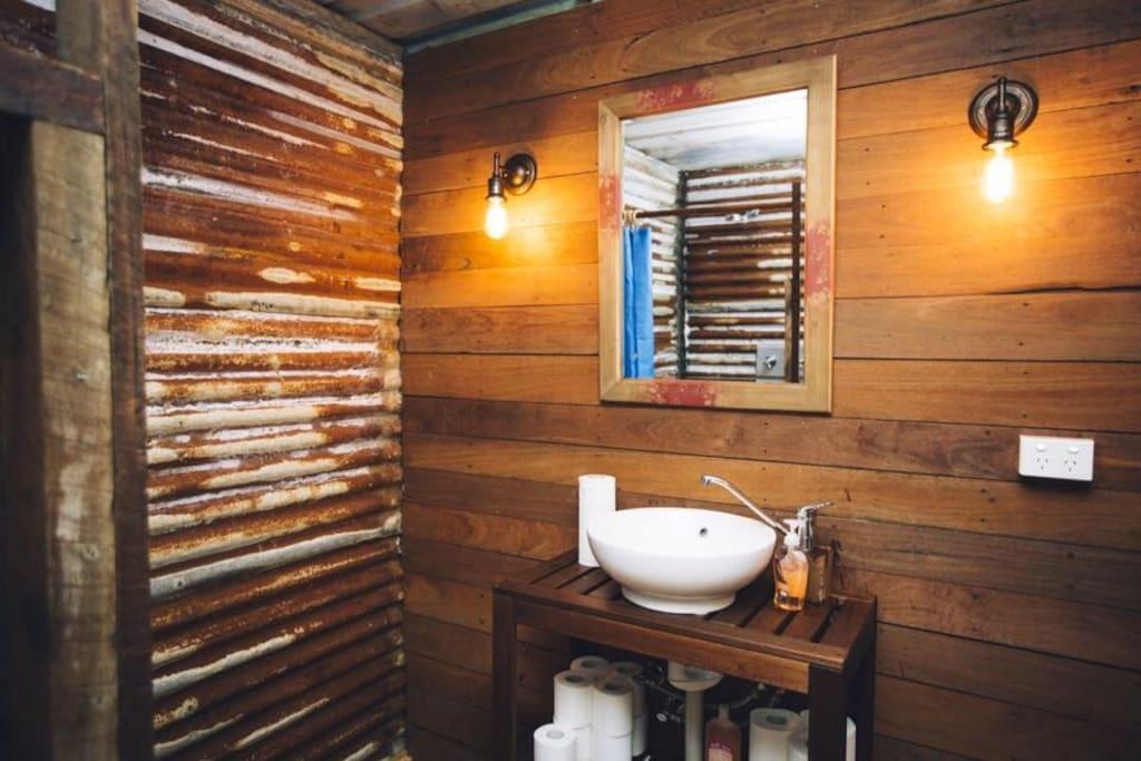 rustic campsite toilets