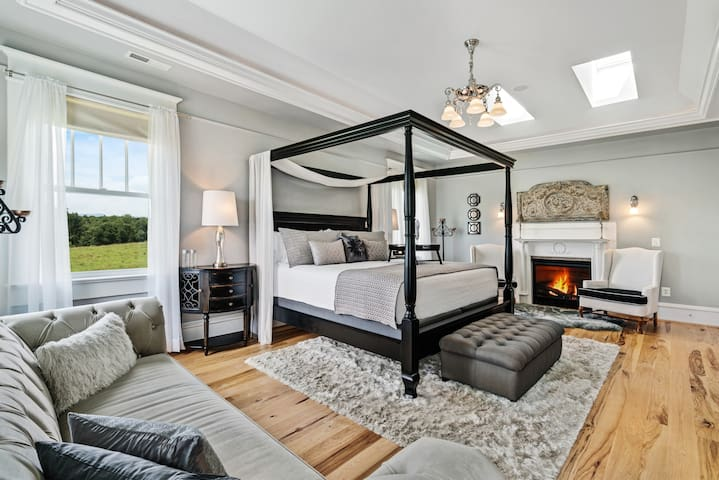 The Walt Whitman Grande Suite is a four room suite, with gas fireplace, walk in closet and dressing chamber a parlor and a huge 10X10 grande shower room.