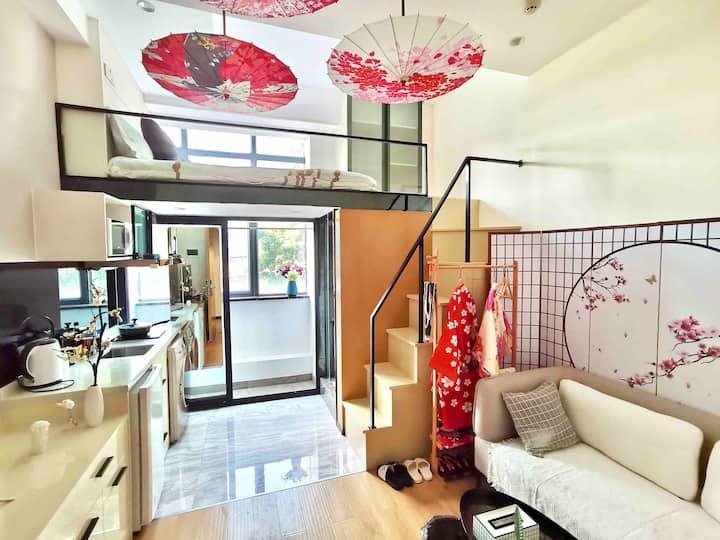 [三时三宿]带窗光线好&和风复式loft 可做饭 近珠江新城/广州塔/正佳广场/暨大/潭村地铁站