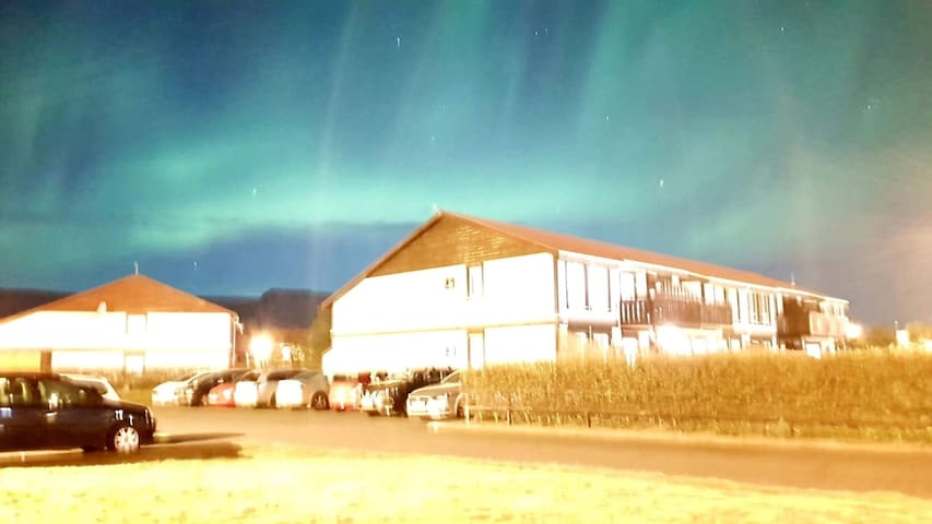 The northern lights as seen from our apartment in September (picture taken on a phone)