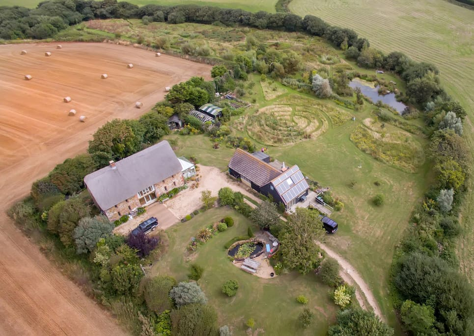Aerial shot of the barns and grounds