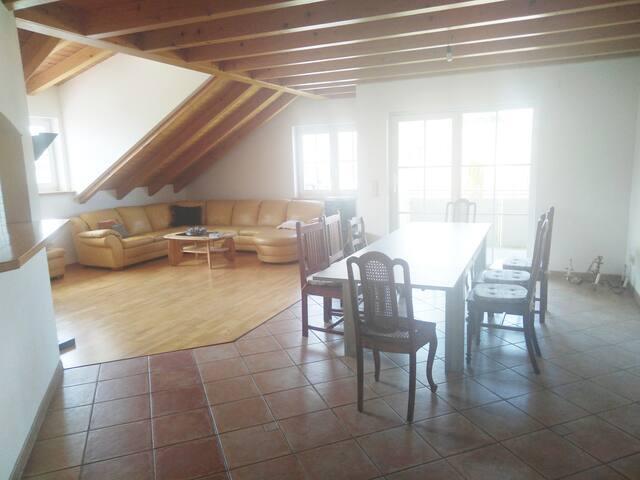 Wohnzimmer mit großem Essplatz