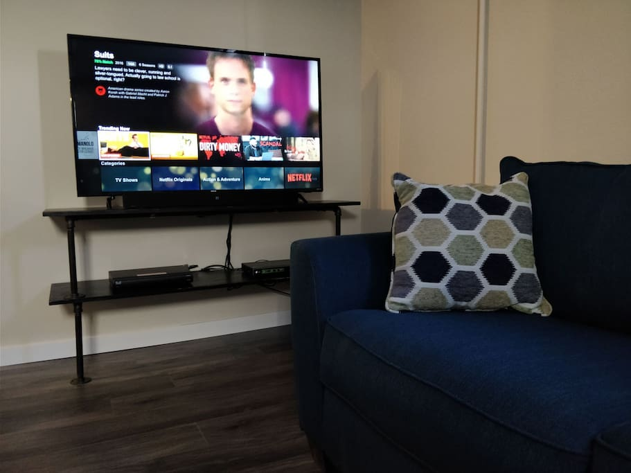 "55"" 4k tv with Bell HD-PVR, BluRay Player, and Subwoofer sound bar that can be connected to your smartphone via Bluetooth."