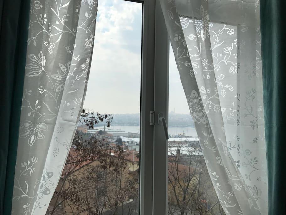 Beautiful Golden Horn View Through the Living Room Window