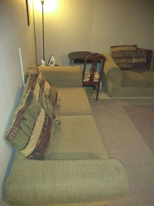 Sofa, loveseat, and desk. Same area has the two beds. All this area for you. This area not shared.