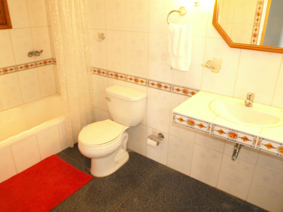 Beautiful and clean bathroom with tub, hot water both in the tub/shower and sinks.