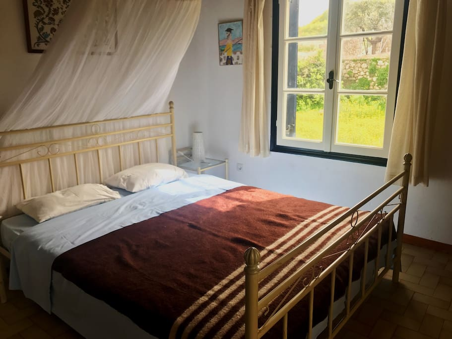 Top floor Bedroom 1: A double bed and a mosquito net. Plenty of sun coming in during the whole day and a magnificent view of the mountain and the daisies.