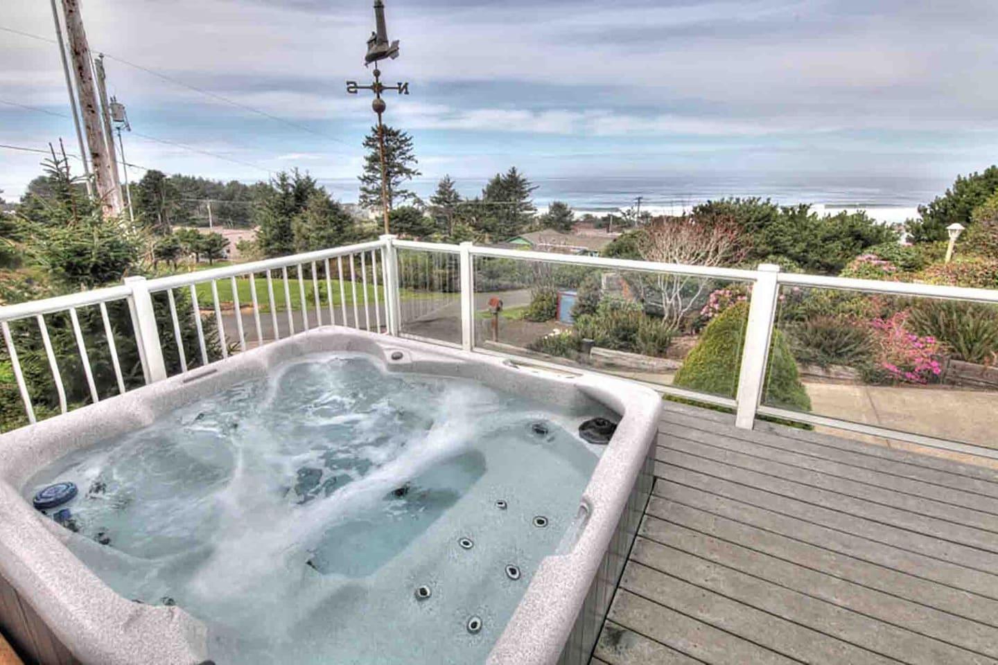 Ocean view hot tub is perfect after a day at the beach.
