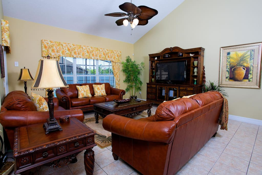 Living area with 50-inch plasma TV, DVD/VHS combo & stereo system