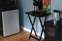 Mini fridge, microwave, keurig  and electric kettle provided as well as tea and coffee in the second bedroom