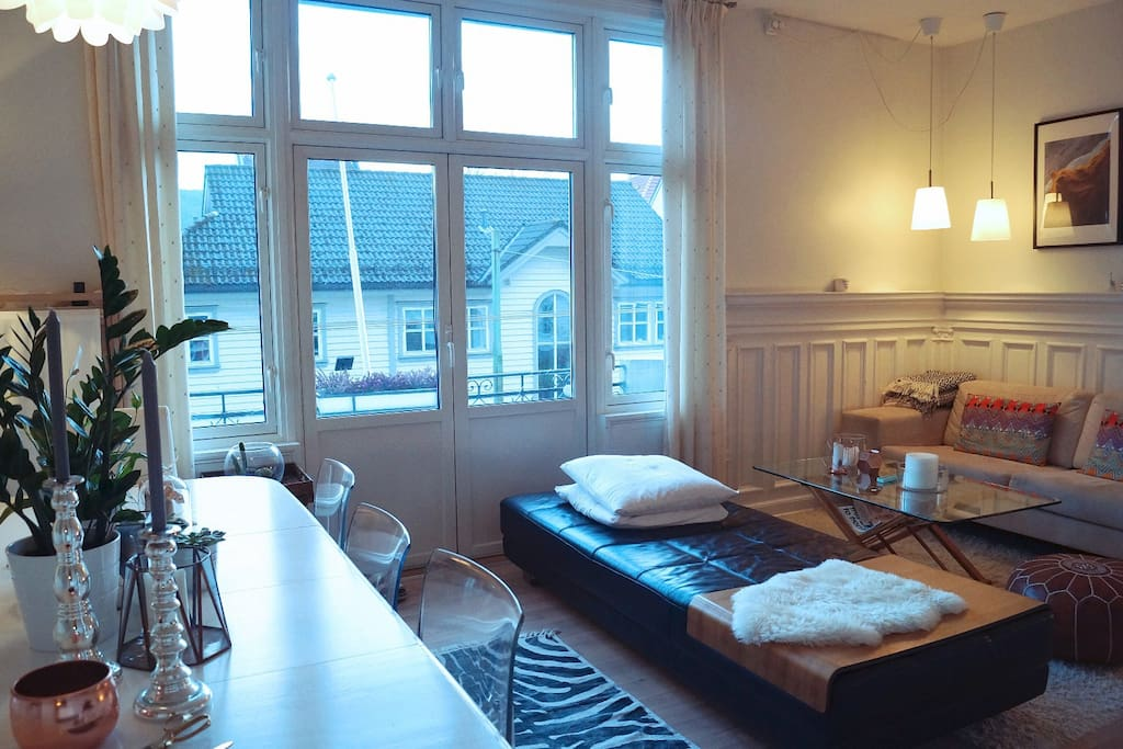 Spacious Livingroom with access to cosy balcony.