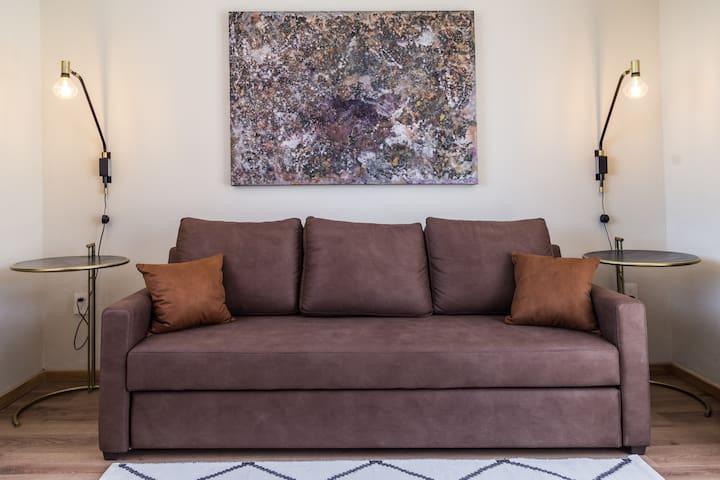 Cómodo sofá cama matrimonial en la sala de tele con acceso al RoofTerrace