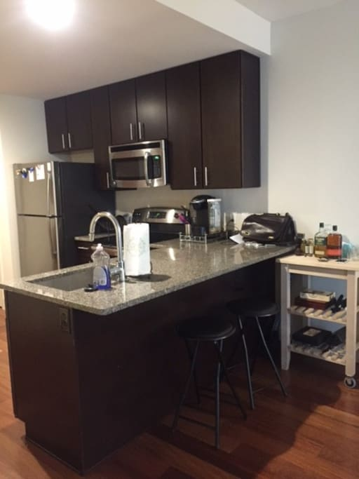 Brand new kitchen with a Keurig!  Please help yourself :)