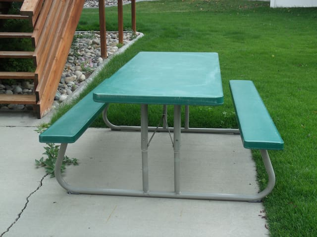 Picnic table in the backyard available for use
