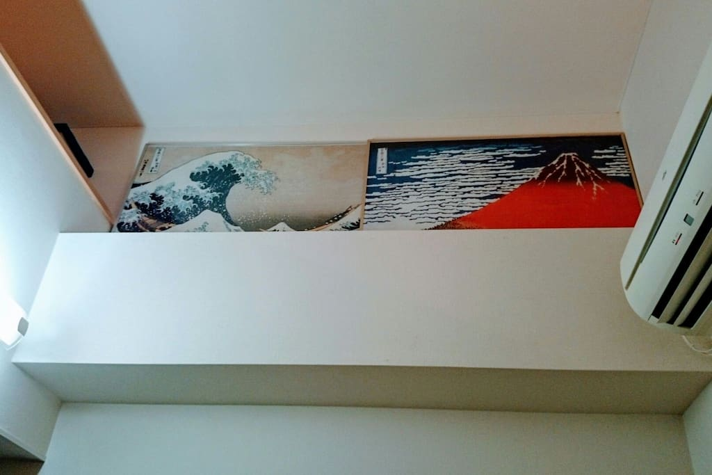 Hokusai's picture on the loft.