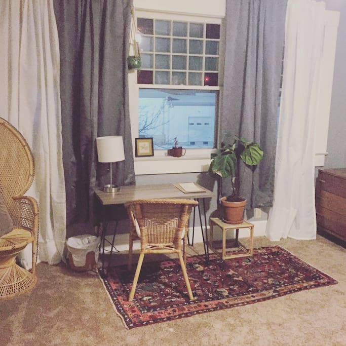 Bedroom has great natural light - I take some of my plants up here in the winter - two cozy chairs, desk with plenty of workspace, a dresser and a large closet.