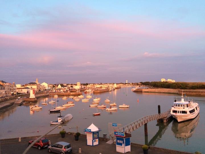Vue panoramique sur le port et l'océan
