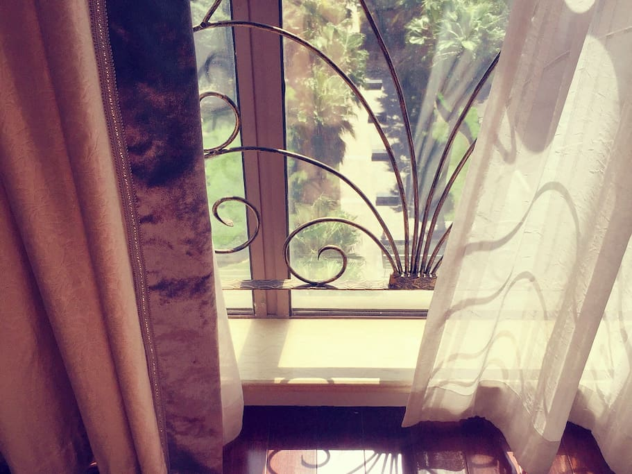 Sunny window. 阳光充足,落地窗朝南。