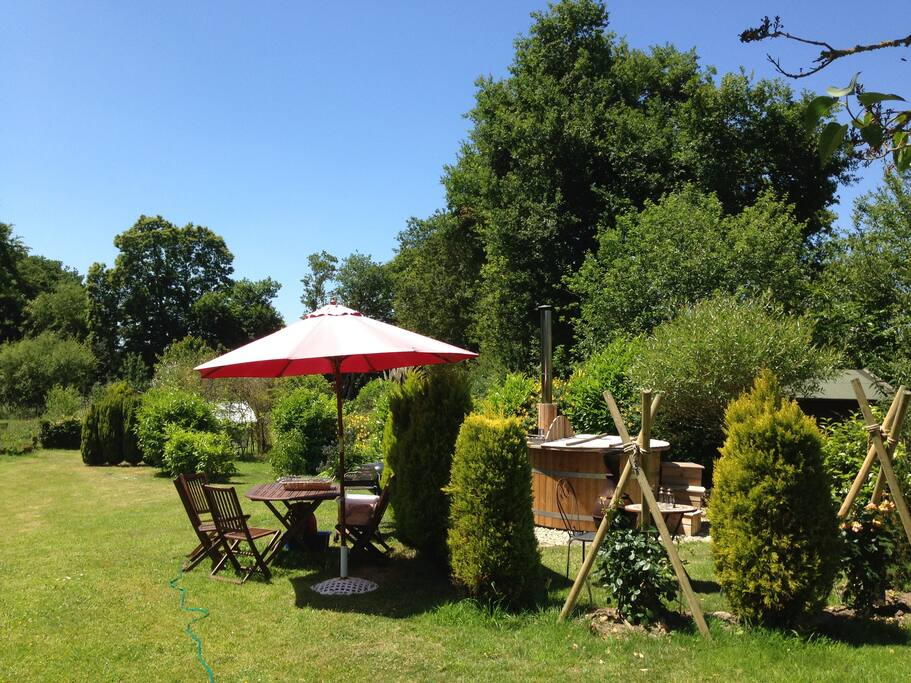 Wood fired hot tub and barbecue in the 1 acre garden.