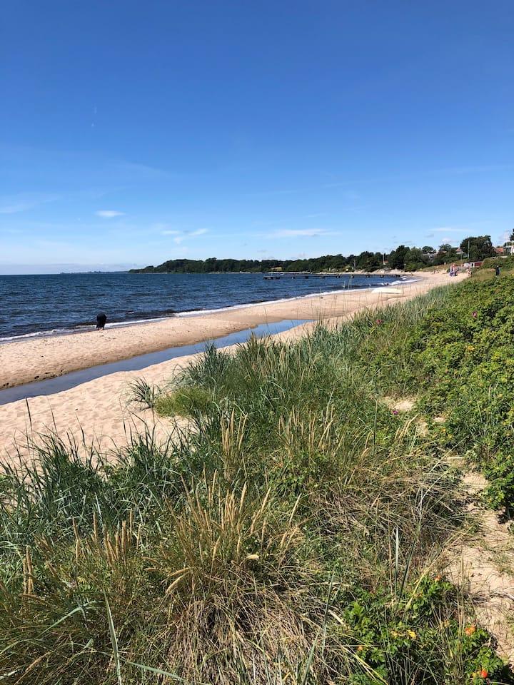Bo strandnära med utsikt över havet i fina Svarte