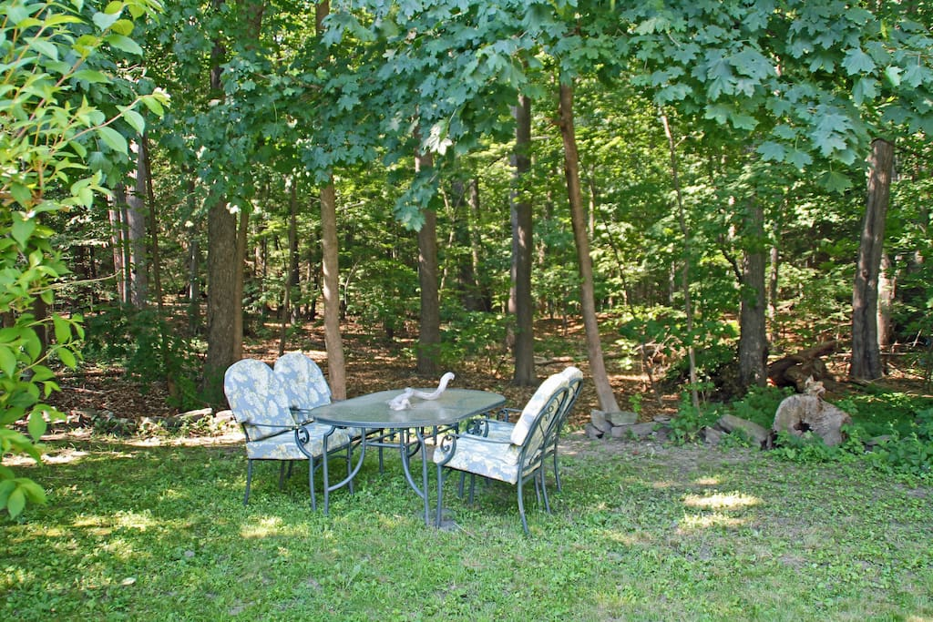 Our backyard abuts a 40 acre city park.  This space is shared with us, but we usually can work out a sharing arrangement.