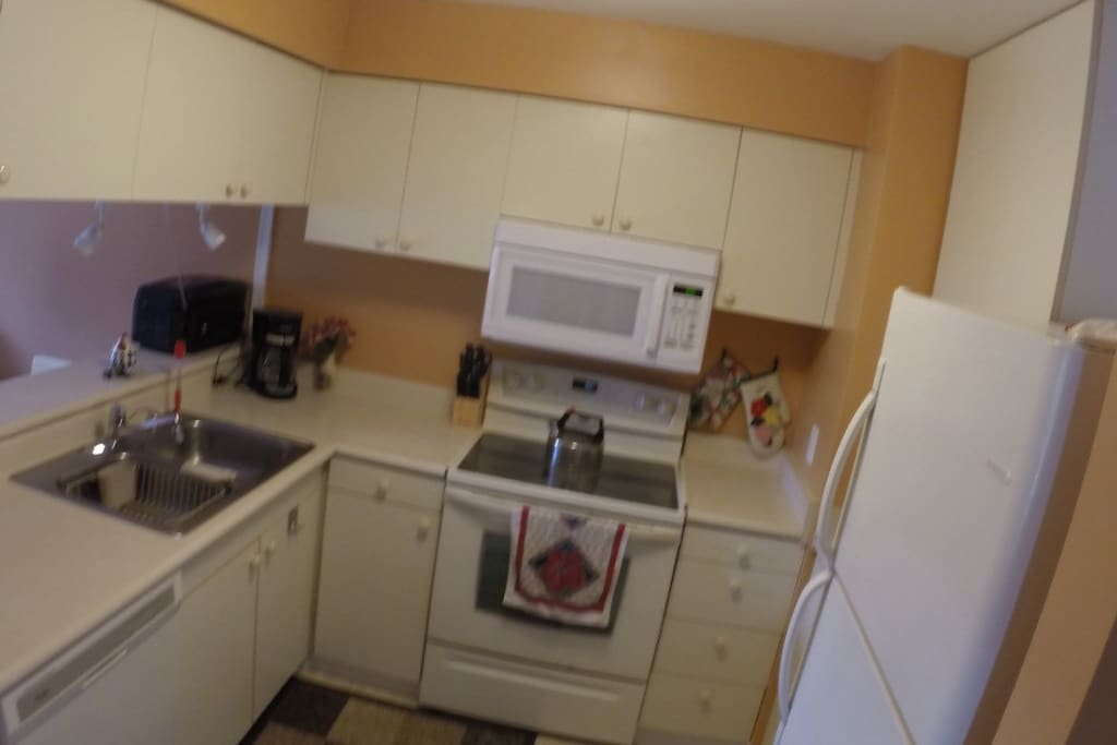 Well Equipped Kitchen with Dishwasher, Microwave, Coffee Maker, Blender, Nutra Bullet, and more!