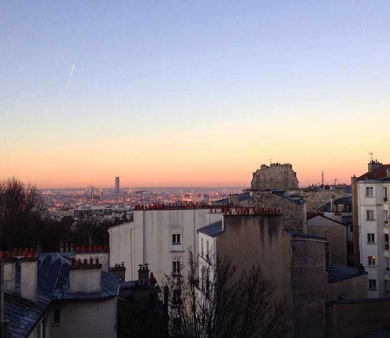 View from the flat on the morning, Eiffel tower on the right