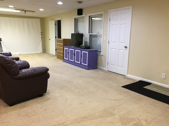 Enjoy an evening in this huge living room. Games, DVDs, VCR tapes, television or Netflix for your entertainment pleasure.