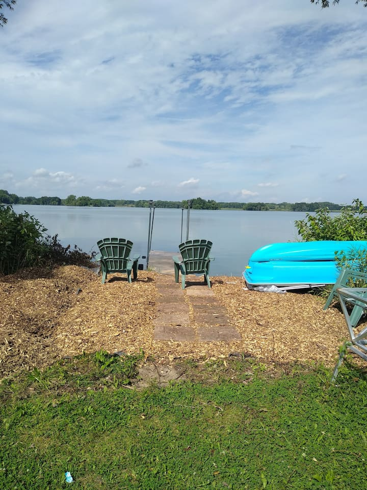 lake front 130' frontage, 20' dock, 2 kayaks and paddle boat available for use.