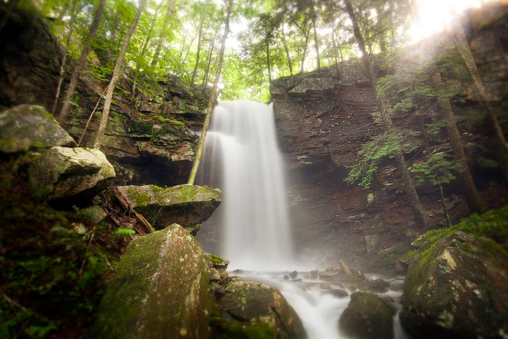 Majestic, Private Miller's Falls drops fifty feet.  It's a short walk from the back deck.