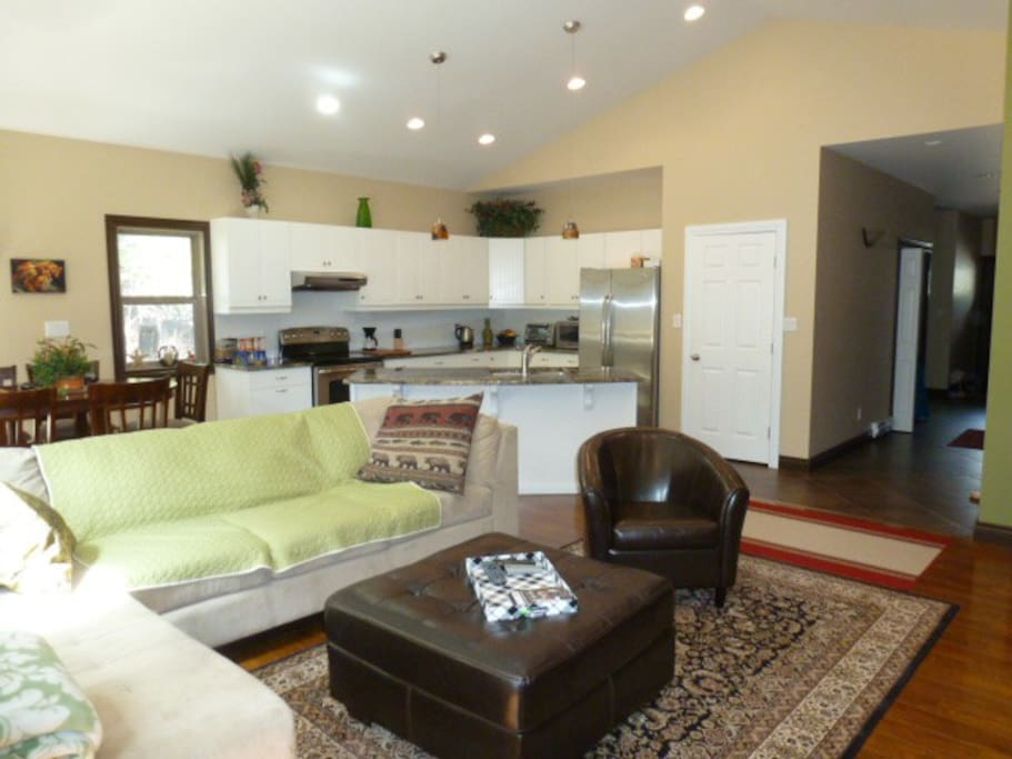 family room/ kitchen in background