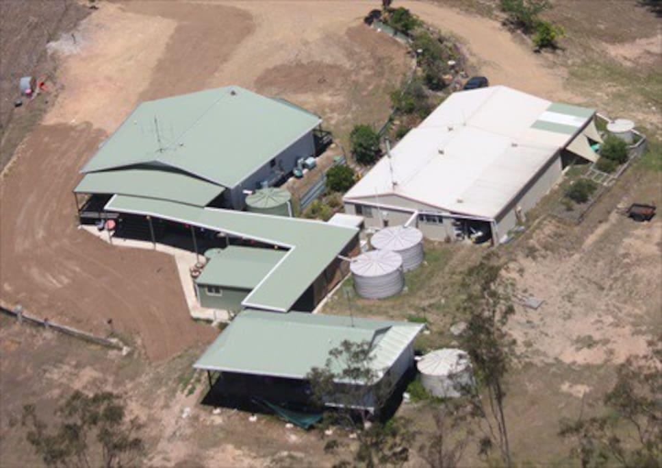 Arial view of complex.