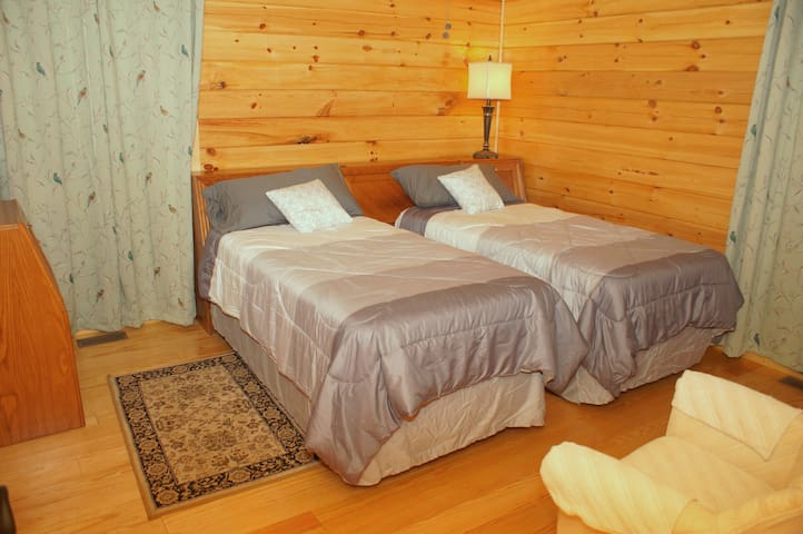Twin bedroom with closet, chest, and headboard charging outlets, first floor.