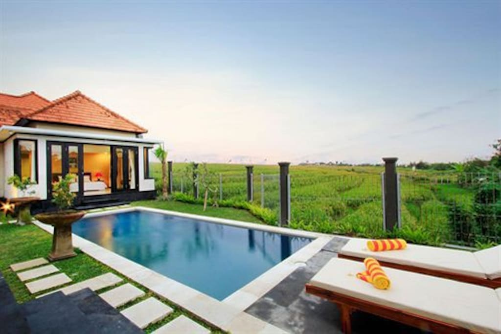 Private pool with viewing rice terrace