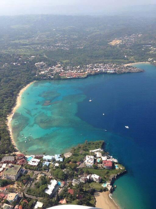 Sosua beach from the air
