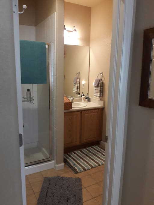 Bath with shower, towels, shampoo, soap, etc