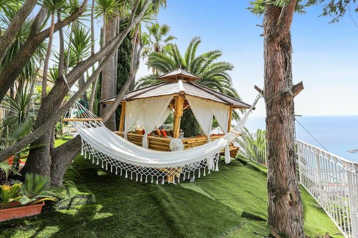 Villa d'une chambre à Menton, avec magnifique vue sur la mer, piscine intérieure, terrasse - à 4 km de la plage