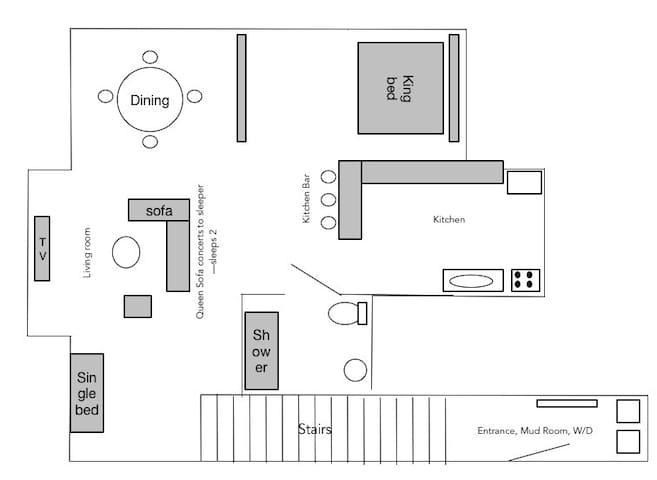 Floor plan -   1 king bed, one queen sofa sleeper, one single bed.   Full kitchen, dining area, living room, bathroom and mud room/laundry room