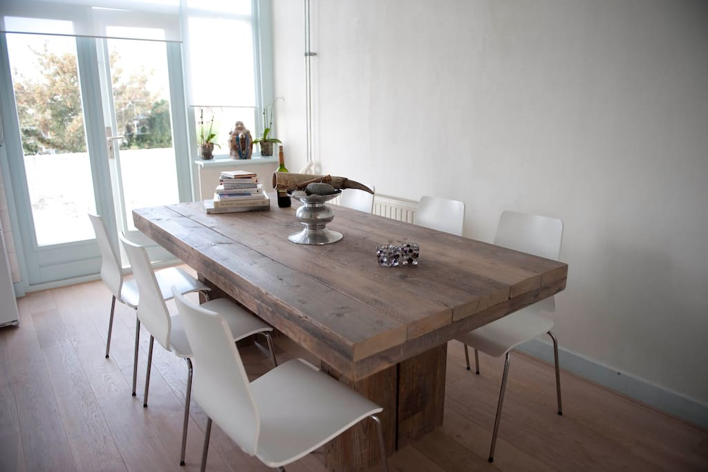 large kitchen with family dinner table