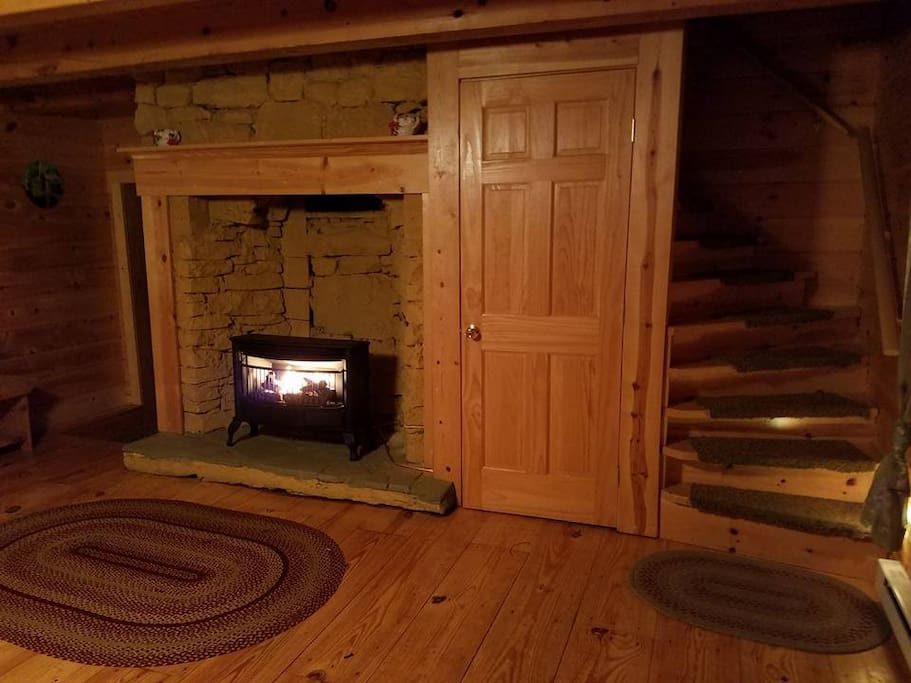 Propane Gas FirePlace makes CozyCabin Cozy. Turn the Love seat around and turn off the world.