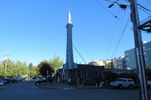 Fremont Rocket art installation. And yes, it is always this sunny in Seattle and the skies are always this blue.