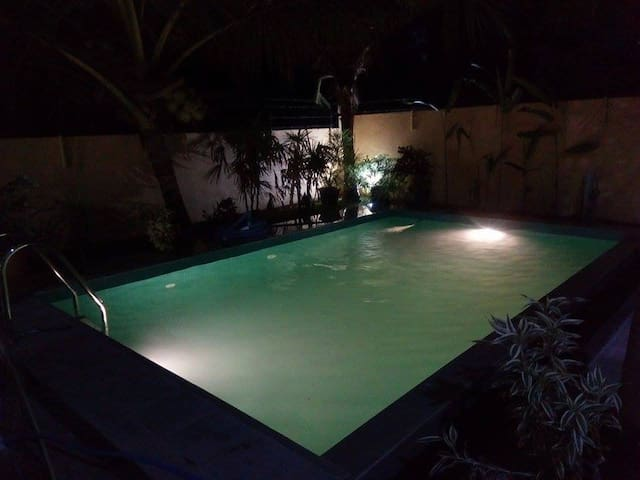 THE NIGHT TIME IN POOL TO RELAX WITH A COCKTAIL OR FOR A CANDLE LIGHT DINNER :)