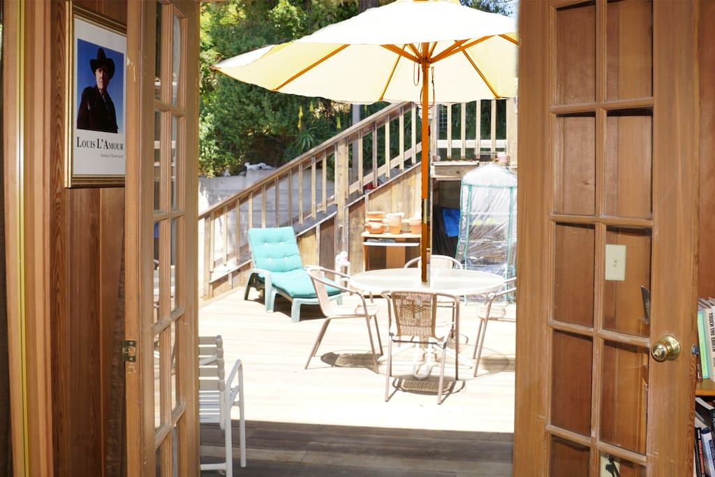 French doors access the deck