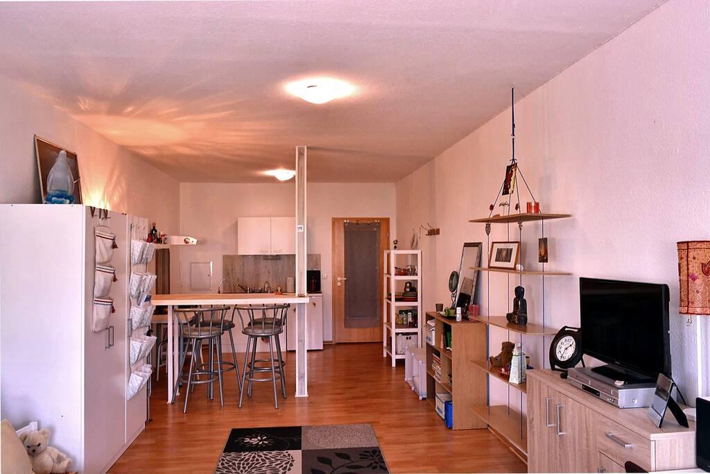 das große Zimmer mit Singelküche