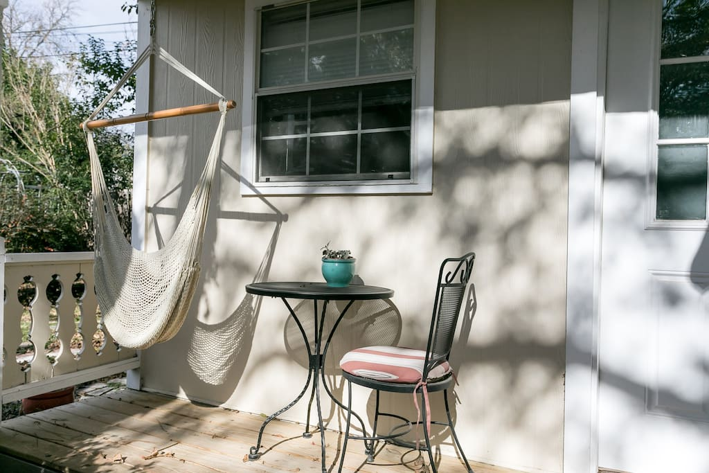The front porch, perfect for morning coffee in the hammock
