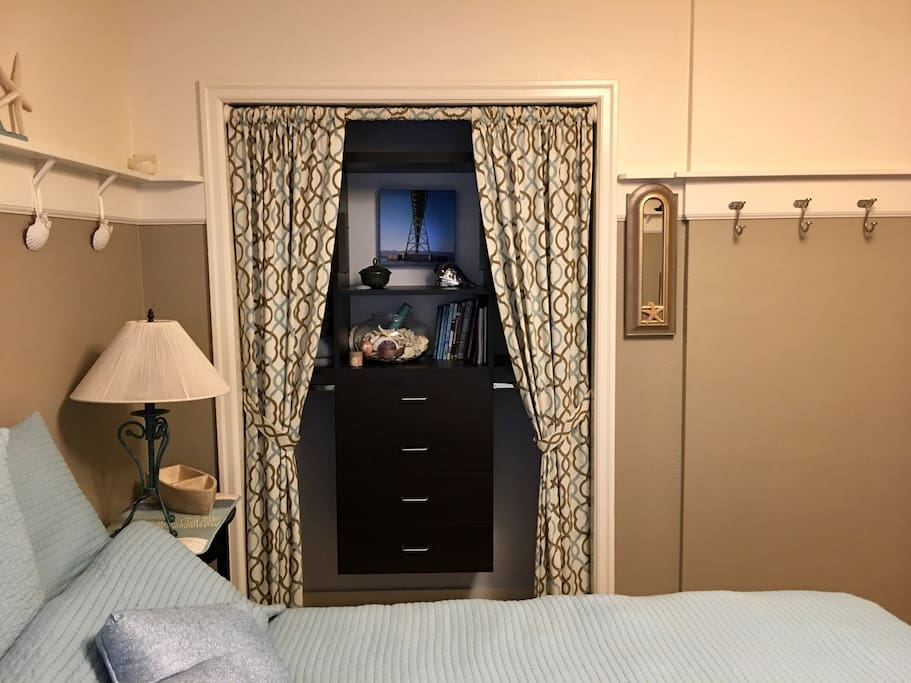 Plenty of room for your belongings in this handy closet and storage area.