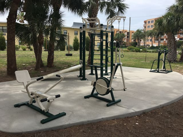 Adult workout equipment right beside condo